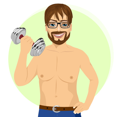 bicep curls: portrait of active handsome young hipser man practicing fitness exercise with dumbbell Illustration