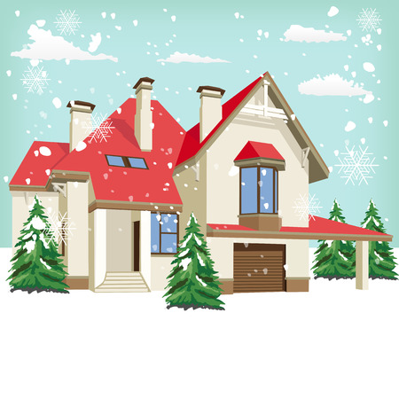 suburban home: The front of typical American home in winter Illustration
