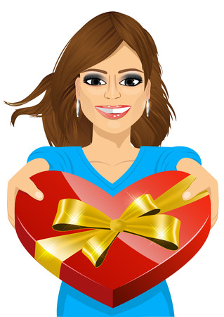 handing over: portrait of beautiful woman handing over a heart shaped box filled with chocolates Illustration