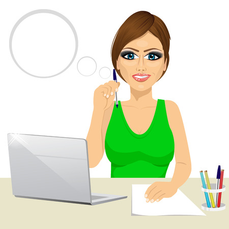 secretary office: attractive pensive office secretary woman working at the laptop and holding a pencil