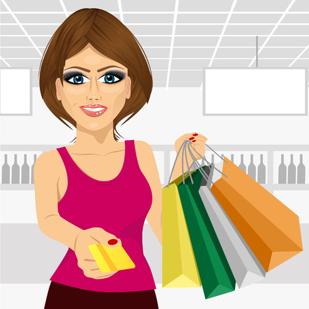 woman holding card: beautiful young woman holding shopping bags and giving a credit card in the supermarket Illustration