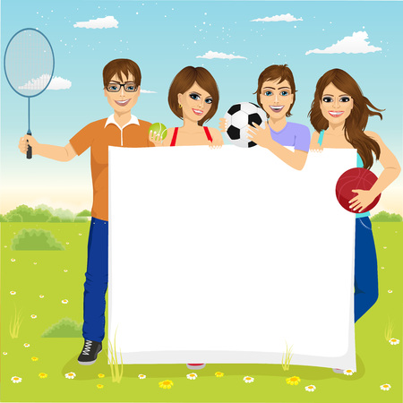 white board: group of caucasian young students with different sports equipment holding a blank board woth copyspace for text Illustration