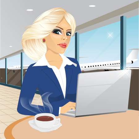 woman laptop: beautiful young blonde businesswoman working at laptop in restaurant and drinking a coffee at airport Illustration