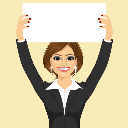 executive board: portrait of young beautiful businesswoman holding white blank board