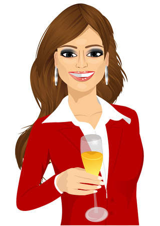 corporate people: portrait of successful young attractive businesswoman toasting with a glass of champagne