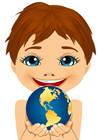 caucasian: caucasian little boy holding earth globe with his hands