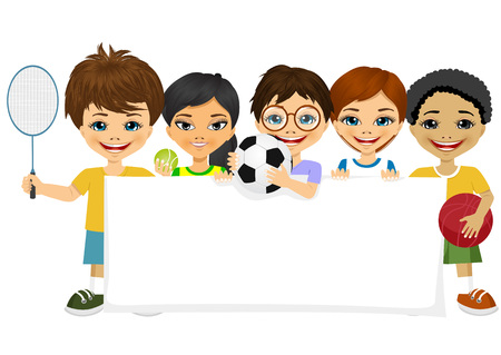 multiracial: group of multiracial children with different sports equipment holding a blank board woth copyspace for text