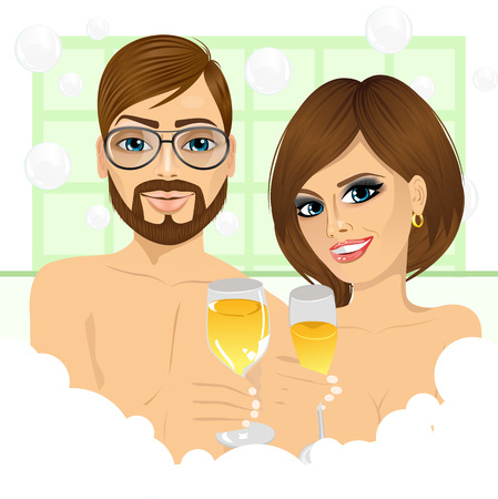 romantic couple: caucasian happy couple making toast with champagne in bathtub enjoying bubble bath and relaxing together