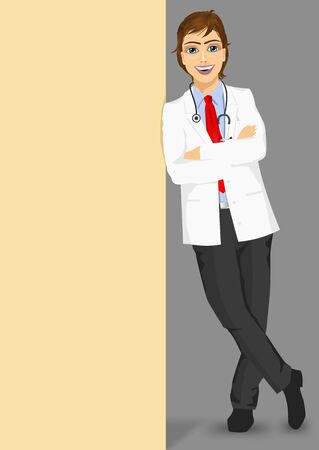 full body portrait of male doctor with glasses leaning against a blank board with copyspace for text