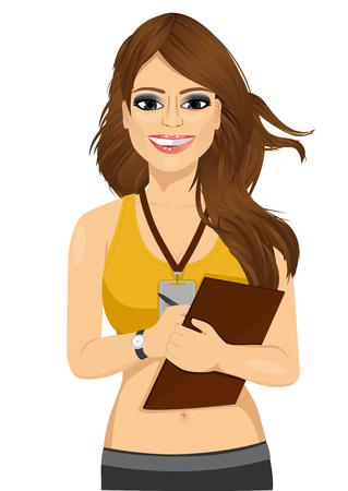 persona escribiendo: retrato de la redacción de notas instructor de fitness femenino aislado en el fondo blanco