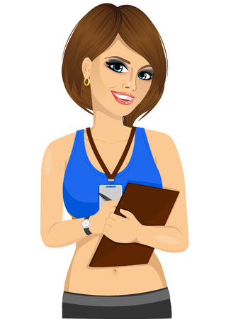 portrait of female brunette caucasian fitness trainer writing notes Illusztráció