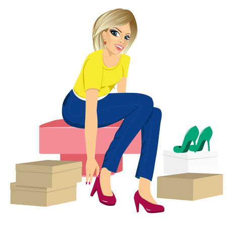 trying: attractive blonde woman trying many fashionable shoes