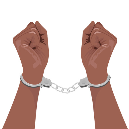 handcuffs woman: cropped illustration of a pair of african american hands in handcuffs isolated on white background Illustration