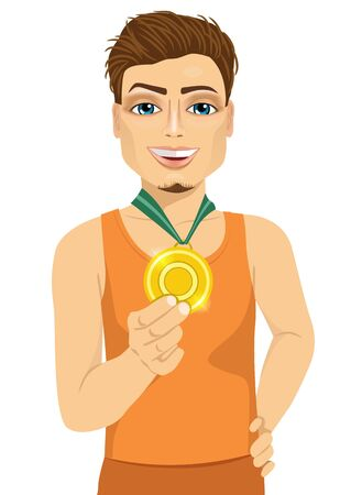 male athlete: portrait of male athlete showing his gold medal isolated over white background Illustration