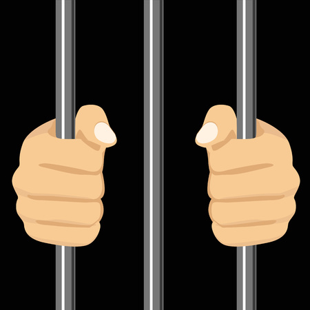 behind bars: cropped illustration of a person locked behind bars Illustration