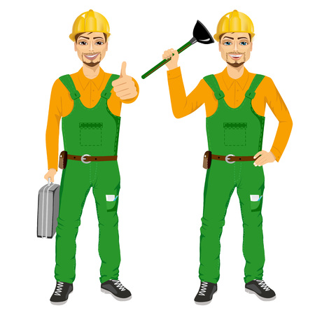 happy smiling plumber holding plunger in green uniform holding tool box and showing thumbs up