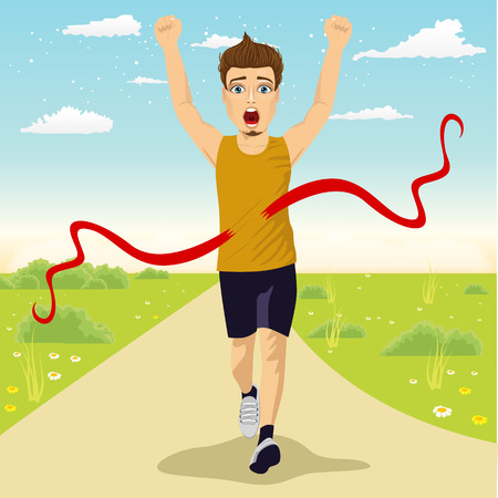 runner up: male runner crossing red finish line outdoors and celebrating victory with fists raised up Illustration