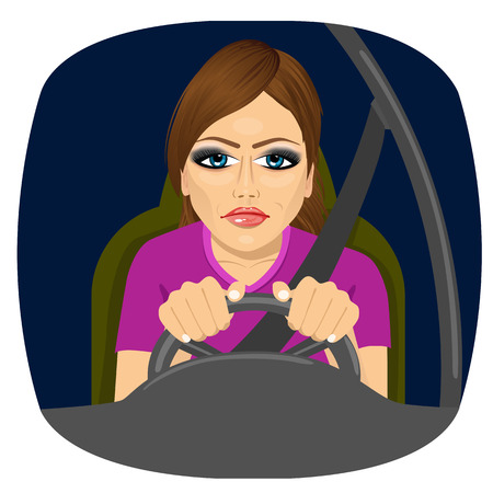 portrait of sleepy female driver dozing off while driving