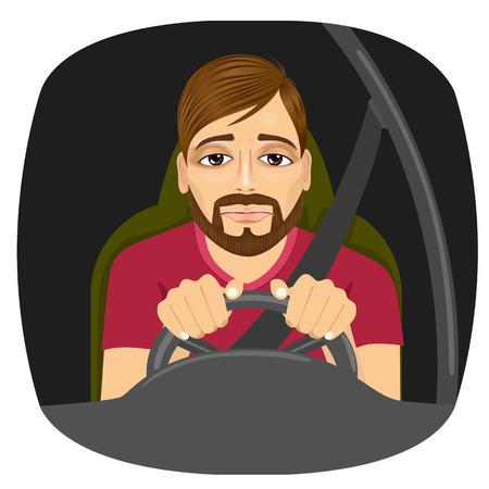 portret van slaperige mannelijke bestuurder dommelen tijdens het rijden