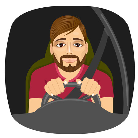 portrait of sleepy male driver dozing off while driving