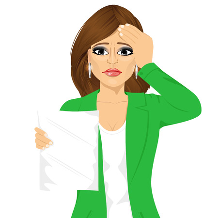 test results: portrait of businesswoman disappointed about her own test results