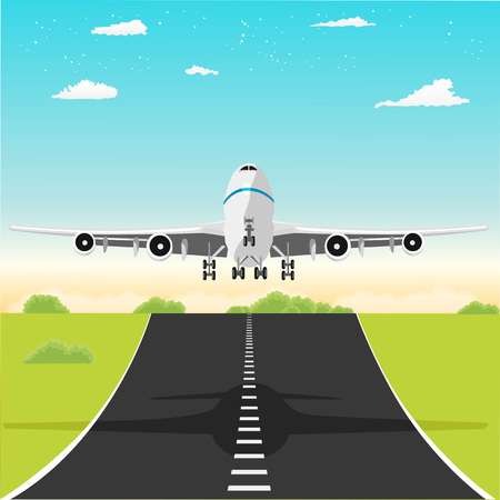 taking off: illustration of an airplane taking off from the runway in the afternoon