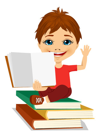 portrait of little boy showing an open book sitting on stack of books while raising his hand