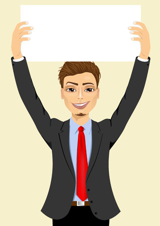 blank board: portrait of young handsome businessman holding white blank board Illustration