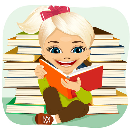 interesting: portrait of little blonde girl reading an interesting book surrounded by pile of other books