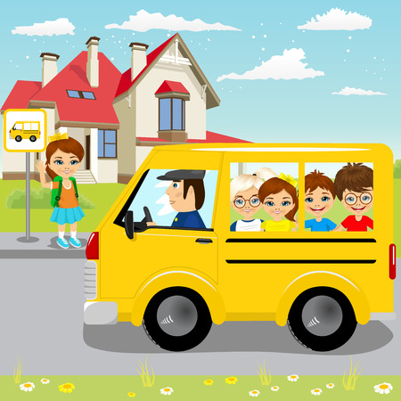 schoolbus: little girl waiting for schoolbus on bus stop to ride to school