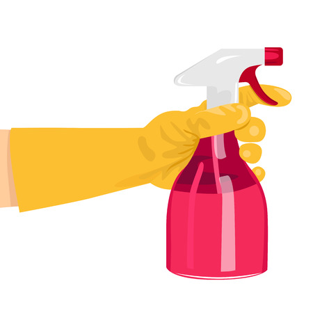 latex glove: hand holding a pink spray bottle isolated over white background Illustration
