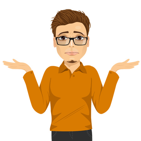 shrug: portrait of young man with glasses in doubt making shrug expression Illustration