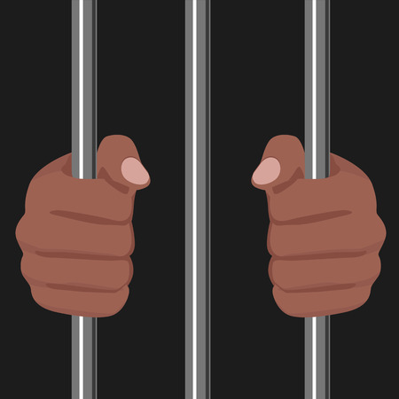 men bars: cropped illustration of a african american locked behind bars