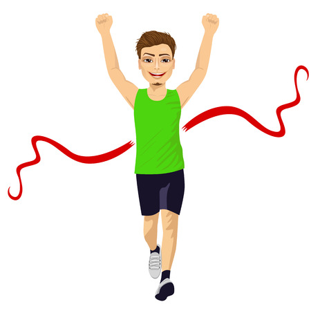 runner up: full body portrait of male runner crossing red finish line and celebrating victory with fists raised up Illustration