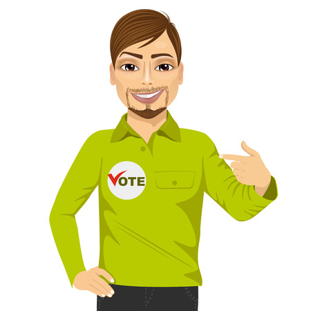 council: portrait of young hipster student council candidate promoting himself isolated on white background Illustration