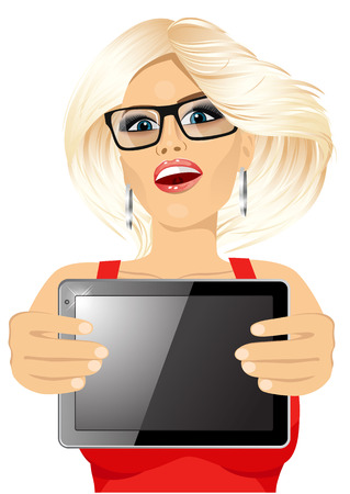 horizontal position: portrait of attractive blonde woman with glasses displaying tablet in horizontal position isolated on white background Illustration