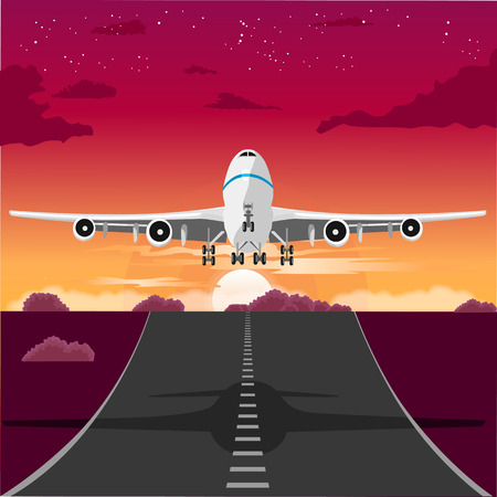 taking off: illustration of an airplane taking off from the runway in the evening