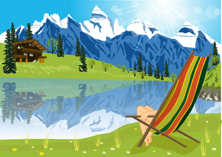 lounge chair: illustration of woman sunbathing on lounge chair beside a lake located at the foot of a mountain