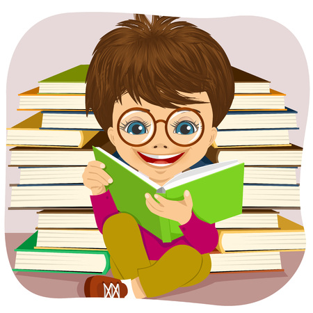 interesting: portrait of little boy with glasses reading an interesting book surrounded by pile of other books Illustration