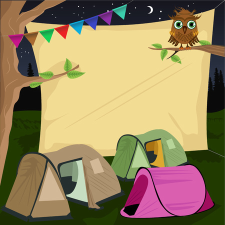 tarpaulin: illustration of a campsite with a giant board stretched behind tents