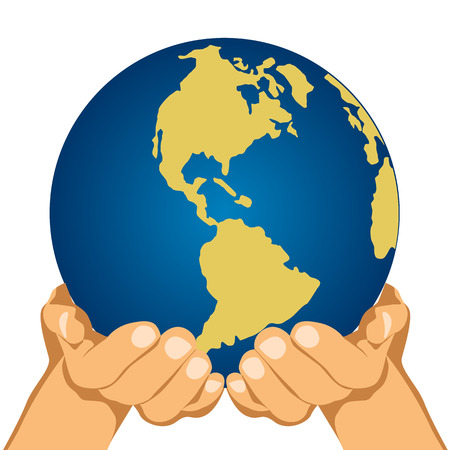 illustration of globe in hands isolated over white background Illustration