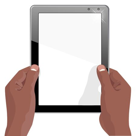 pda: illustration of hands of african american holding a tablet touch computer gadget with isolated screen Illustration