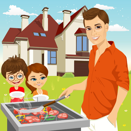 illustration of young happy father barbecuing meat on the grill and hungry children holding empty dishes