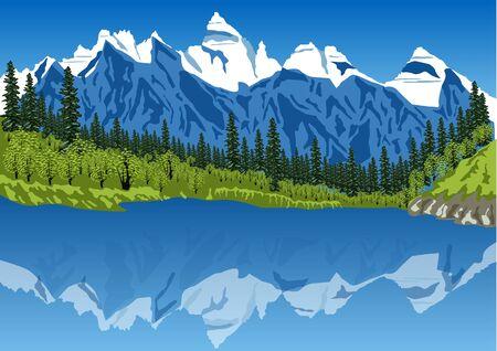 Panoramablick auf idyllische Sommerlandschaft in den Alpen mit klaren Bergsee und frische grüne Almen im Hintergrund