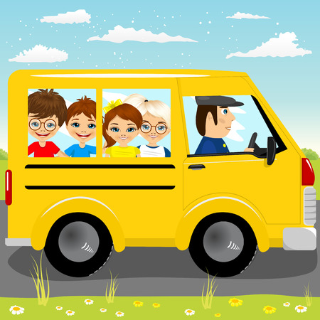 group of kids: Illustration of caucasian school kids riding a schoolbus isolated on white background Illustration