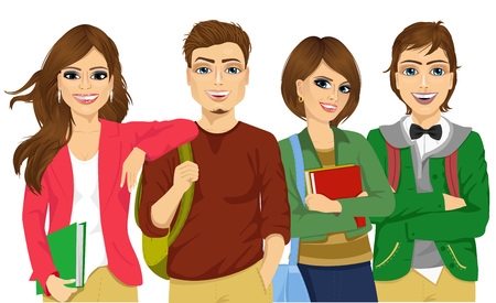 illustration of casual group of students looking happy and smiling isolated on white background