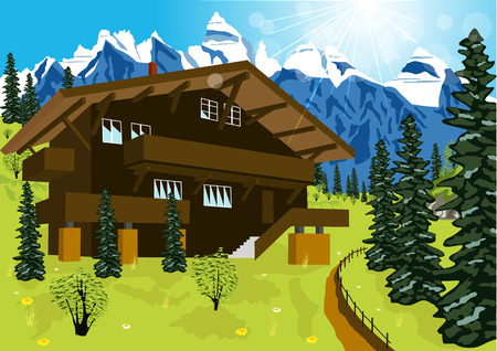 alps: illustration of wooden chalet in mountain alps at rural summer landscape