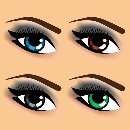 four eyes: close up illustration of four eyes with different eye colors