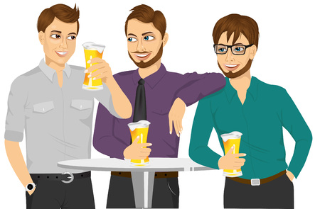 friends having fun: Friends met after a hard day. Three caucasian friends drinking a beer and talking about something. Friends having fun together at round table