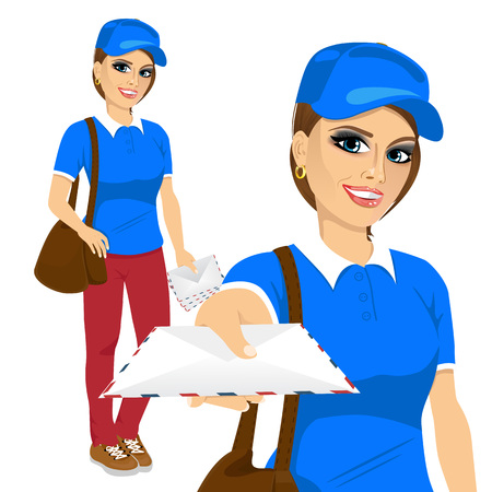 brown shirt: portrait of attractive post woman in blue shirt uniform delivering mail with brown leather bag